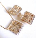 Set bijuterii dama 3D-colier si cercei-placat cu aur 18k si swarovski