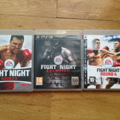 Vand 3 jocuri PS3 / PLAYSTATION 3 cu box : Fight night Round 3, 4 + CHAMPION