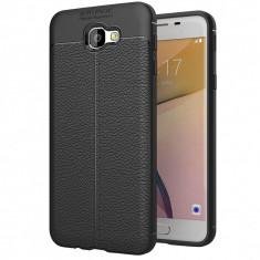 Husa silicon Leather pentru Samsung Galaxy J5 Prime, Negru