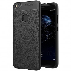 Husa silicon Leather pentru Huawei P10 Lite, Negru