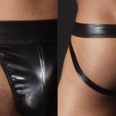 Suspensori / Lenjerie fara spate / Jockstrap imitatie de piele - marimea M, Marime: M, Culoare: Negru