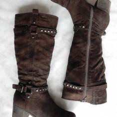 Cizme piele naturala intoarsa Graceland. Marime 39 (24 cm talpic); 6 cm toc - Cizma dama, Culoare: Din imagine