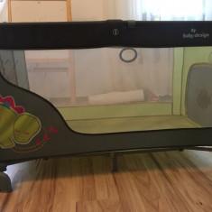Vanzare patut si saltea copii - Patut pliant bebelusi Baby Design, 120x60cm, Verde