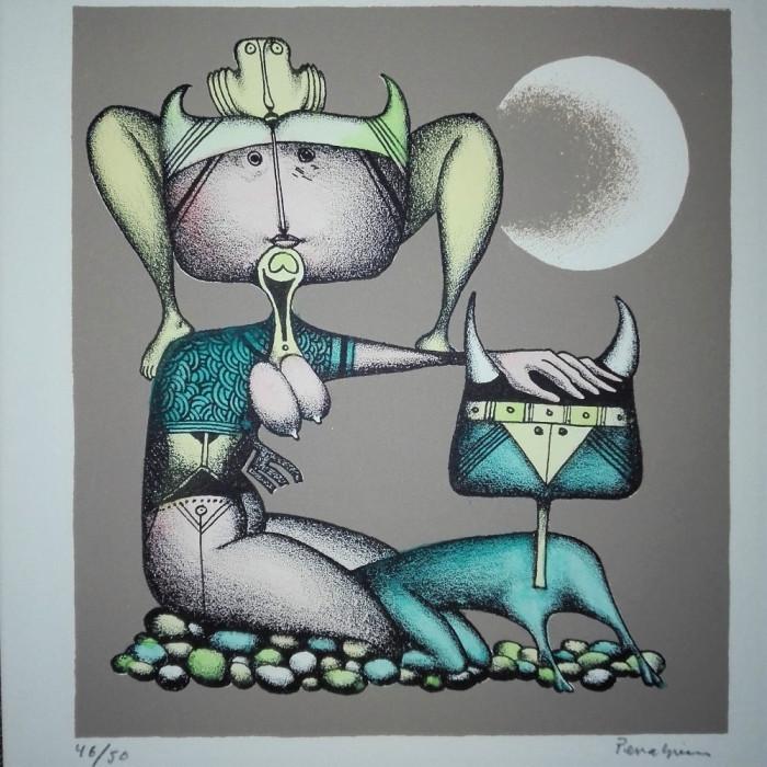 Jules Perahim (1914-2008) - Compozitie suprarealista, lucrare deosebita, semnata foto mare