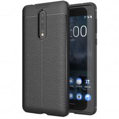 Husa silicon Leather pentru Nokia 8, Negru