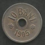 ROMANIA  10  BANI  1905  [15]  livrare in cartonas, Cupru-Nichel