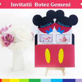 Invitatii Botez Gemeni - Mickey-Minnie Varianta 2