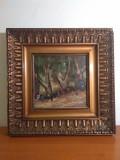 Samuel Mutzner-Alee in Parc, pictura pe lemn, rama muzeala, Peisaje, Ulei, Avangardism