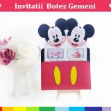 Invitatii Botez Gemeni - Mickey-Minnie Varianta 1