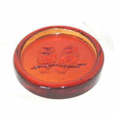 Scrumiera cristal amber marigold - Bufnite - design Erik Hoglund, Boda, Sweden - Scrumiera sticla