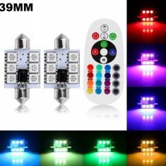 Set Led Plafoniera RGB cu telecomanda - Lumini interior auto