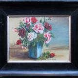 Vaza cu flori (2) - semnat Eremia Profeta 1964 - Pictor roman, Natura statica, Ulei, Altul