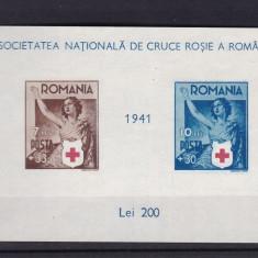 ROMANIA 1941 LP 146 CRUCEA ROSIE COLITA NEDANTELATA MNH - Timbre Romania, Nestampilat