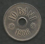 ROMANIA  10  BANI 1906 ,  fara  J - Monetaria Bruxelles [02]  VF ,  in cartonas, Cupru-Nichel