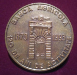 BANCA AGRICOLA 1873-1993 - placheta omagiala - Medalie Romania #2