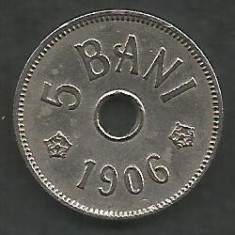ROMANIA 5 BANI 1906, litera J - Monetaria Hamburg [7] XF+ in cartonas - Moneda Romania, Cupru-Nichel
