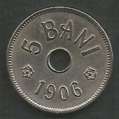 ROMANIA 5 BANI 1906, litera J - Monetaria Hamburg [4] XF+ in cartonas - Moneda Romania, Cupru-Nichel