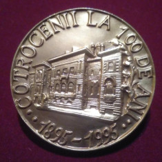 Palatul COTROCENI la 100 de ani 1895-1995 - placheta omagiala - Medalie Romania - Medalii Romania