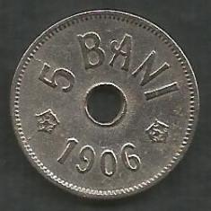 ROMANIA 5 BANI 1906, litera J - Monetaria Hamburg [12] XF, in cartonas - Moneda Romania, Cupru-Nichel
