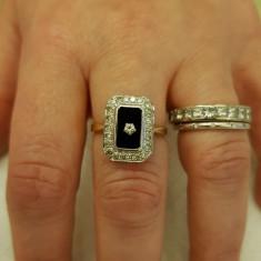 Inel cu diamant si onix - Inel diamant, Carataj aur: 14k, Culoare: Galben