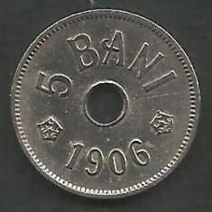 ROMANIA 5 BANI 1906, litera J - Monetaria Hamburg [8] XF+ in cartonas - Moneda Romania, Cupru-Nichel