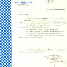 Z100 DOCUMENT VECHI -SABENA BELGIAN WORLD AIRLINES -INSTIINTARE FLOAREA NITA1964 - Hartie cu Antet
