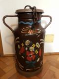 Suport de umbrele,canistra veche,metalica,pictata,rustica ,bavareza