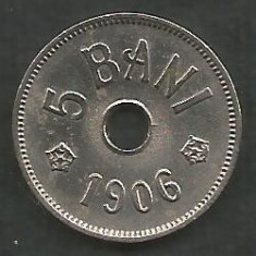 ROMANIA 5 BANI 1906, litera J - Monetaria Hamburg [13] XF, in cartonas - Moneda Romania, Cupru-Nichel