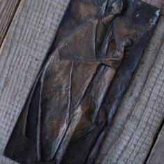 ICOANĂ VECHE STILIZATĂ - LUCRARE CONFECȚIONATĂ DIN BRONZ - MADONA CU PRUNCUL! - Arta din Metal
