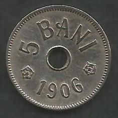 ROMANIA 5 BANI 1906, litera J - Monetaria Hamburg [6] XF+ in cartonas - Moneda Romania, Cupru-Nichel
