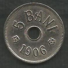 ROMANIA 5 BANI 1906, litera J - Monetaria Hamburg [1] XF++ in cartonas - Moneda Romania, Cupru-Nichel