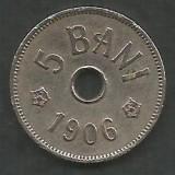ROMANIA  5  BANI 1906 ,  litera J - Monetaria Hamburg  [20] livrare  in cartonas, Cupru-Nichel