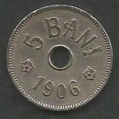 ROMANIA 5 BANI 1906, litera J - Monetaria Hamburg [20] livrare in cartonas - Moneda Romania, Cupru-Nichel