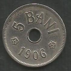 ROMANIA 5 BANI 1906, litera J - Monetaria Hamburg [11] XF, in cartonas - Moneda Romania, Cupru-Nichel