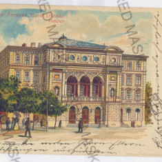 4195 - Litho, TIMISOARA, Theatre - old postcard - used - 1900 - Carte Postala Banat pana la 1904, Circulata, Printata