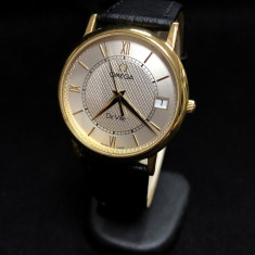 Ceas de aur Omega DeVille (0188) - Ceas dama Omega, Elegant, Quartz, Piele, Data