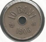 ROMANIA  10  BANI 1906 ,  litera J - Monetaria Hamburg  [3]  XF ,  in cartonas, Cupru-Nichel