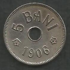 ROMANIA 5 BANI 1906, litera J - Monetaria Hamburg [15] livrare in cartonas - Moneda Romania, Cupru-Nichel