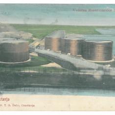 4048 - CONSTANTA, oil tanks - old postcard - used - 1909, Circulata, Printata