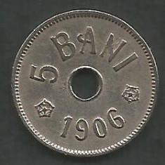 ROMANIA 5 BANI 1906, litera J - Monetaria Hamburg [9] XF, in cartonas - Moneda Romania, Cupru-Nichel