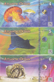 Bancnota Atlantic Ocean 4, 5 si 6 Dolari 2017 - PNew UNC ( set x3 bancnote )