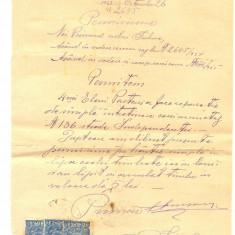 Z59 DOCUMENT VECHI-PEMISIUNE FISCALIZATA A PRIMARIEI SULINA, REPARATIE CASA-1923
