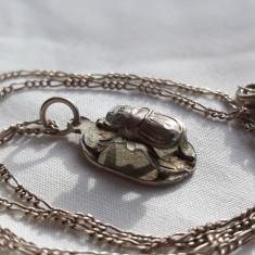 Medalion argint SCARABEU superb VECHI splendid EGIPT 1900 vintage pe Lant argint