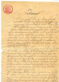 Z86 DOCUMENT VECHI -TESTAMENT ANUL 1910 -CALITA MARIN POROJAN-TIMBRU FIX 5 LEI