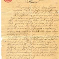 Z86 DOCUMENT VECHI -TESTAMENT ANUL 1910 -CALITA MARIN POROJAN-TIMBRU FIX 5 LEI - Hartie cu Antet