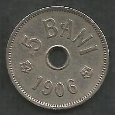 ROMANIA 5 BANI 1906, litera J - Monetaria Hamburg [16] livrare in cartonas - Moneda Romania, Cupru-Nichel