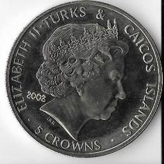 Moneda 5 crowns 2002 - Turks & Caicos, UNC, Australia si Oceania
