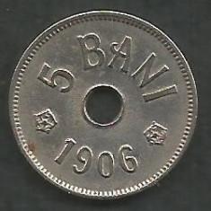 ROMANIA 5 BANI 1906, litera J - Monetaria Hamburg [14] XF, in cartonas - Moneda Romania, Cupru-Nichel