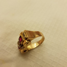Inel dama, aur, cu diamante si rubine - Inel diamant, Carataj aur: 14k, Culoare: Rosu