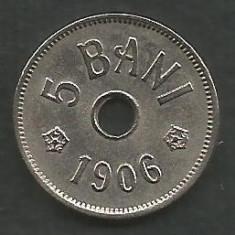ROMANIA 5 BANI 1906, litera J - Monetaria Hamburg [2] XF++ in cartonas - Moneda Romania, Cupru-Nichel
